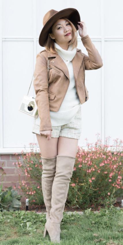 white-shorts-tan-jacket-moto-white-sweater-sleeveless-tan-shoe-boots-otk-white-bag-hat-hairr-fall-winter-lunch.jpg