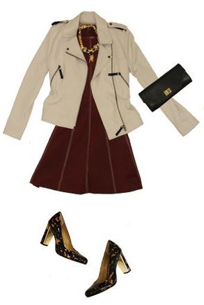 burgundy-dress-mini-aline-bib-necklace-brown-shoe-pumps-leopard-print-tan-jacket-moto-fall-winter-dinner.jpg