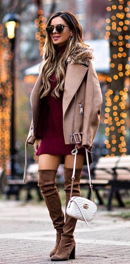 how-to-style-burgundy-dress-sweater-mini-tan-jacket-moto-hairr-sun-white-bag-cognac-shoe-boots-otk-fall-winter-fashion-dinner.jpg