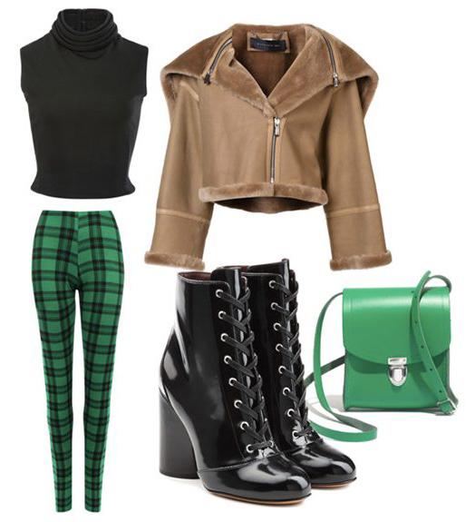 green-emerald-leggings-plaid-black-shoe-booties-green-bag-black-top-shearling-tan-jacket-moto-fall-winter-lunch.jpg