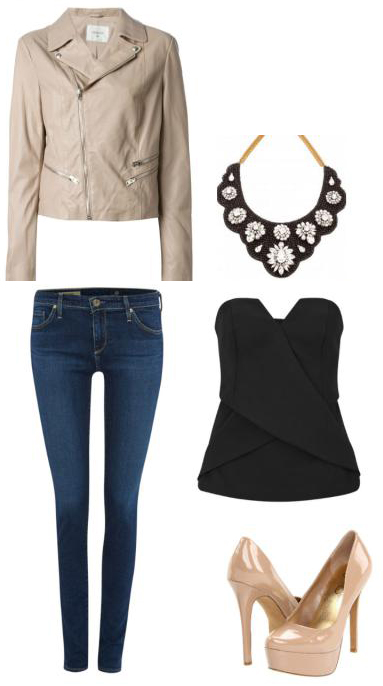 blue-navy-skinny-jeans-black-top-bustier-tan-jacket-moto-tan-shoe-pumps-bib-necklace-howtowear-fashion-style-outfit-spring-summer-dinner.jpg