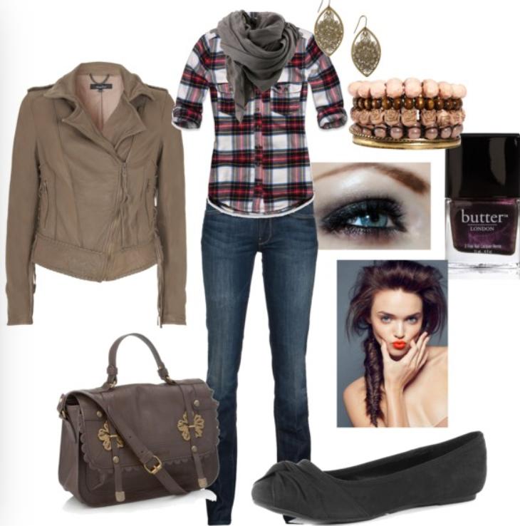 blue-navy-skinny-jeans-red-plaid-shirt-howtowear-fashion-style-outfit-fall-winter-tan-jacket-moto-grayl-scarf-black-shoe-flats-earrings-braid-nail-brown-bag-brun-weekend.jpg