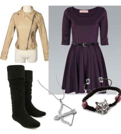 purple-royal-dress-o-tan-jacket-moto-necklace-pend-black-shoe-boots-bracelet-belt-aline-howtowear-fashion-style-outfit-fall-winter-lunch.jpg