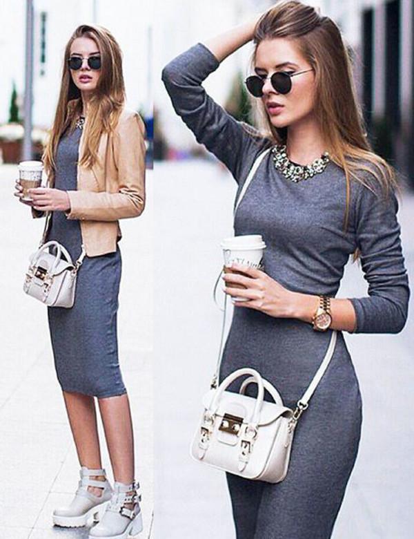 grayd-dress-tan-jacket-moto-white-bag-white-shoe-booties-platform-necklace-sun-bodycon-wear-style-fashion-spring-summer-hairr-lunch.jpg