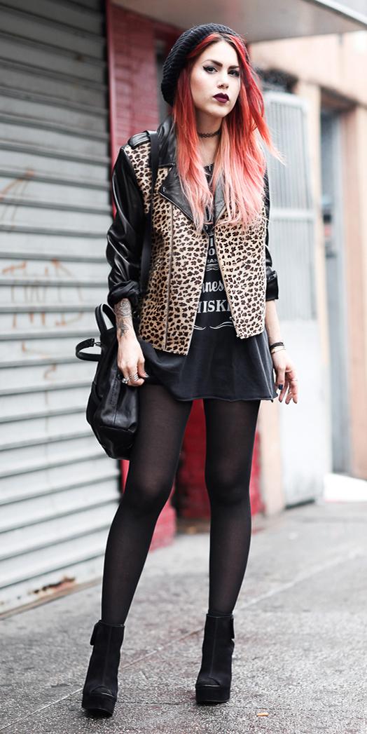 black-dress-tshirt-beanie-black-bag-black-tights-black-shoe-booties-leopard-print-tan-jacket-moto-fall-winter-hairr-lunch.jpg