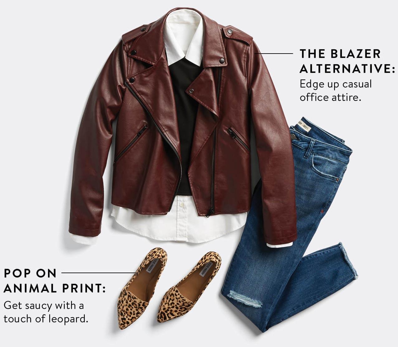 blue-med-skinny-jeans-white-collared-shirt-black-sweater-tan-shoe-pumps-leopard-print-brown-jacket-moto-fall-winter-work.jpg