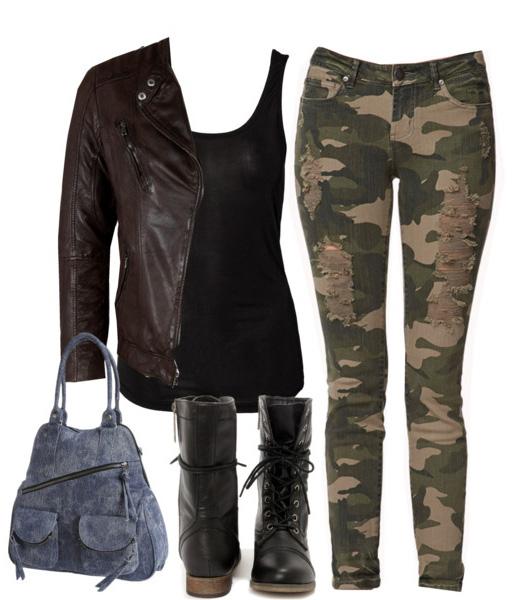 green-olive-skinny-jeans-camo-print-black-tank-blue-bag-black-shoe-booties-brown-jacket-moto-fall-winter-weekend.jpg
