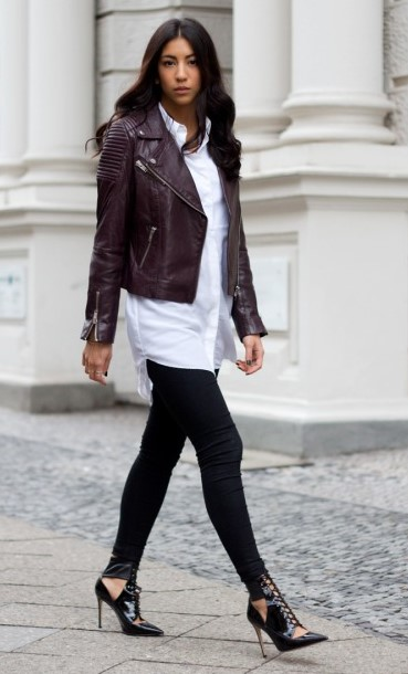 black-skinny-jeans-white-collared-shirt-brown-jacket-moto-brun-black-shoe-pumps-fall-winter-dinner.jpg