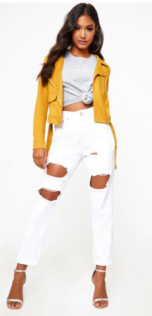 white-skinny-jeans-grayl-tee-hoops-yellow-jacket-moto-fall-winter-brun-lunch.jpg