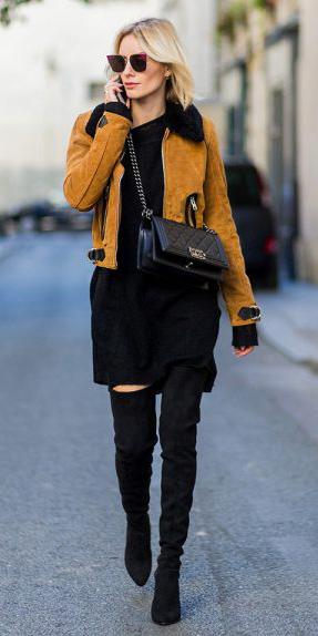 black-dress-sweater-sun-black-bag-black-shoe-boots-otk-yellow-jacket-moto-fall-winter-blonde-lunch.jpg