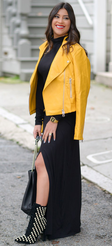 black-dress-maxi-black-shoe-booties-watch-black-bag-yellow-jacket-moto-fall-winter-brun-dinner.jpg