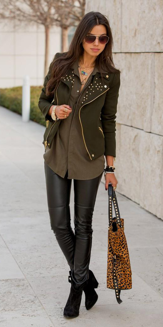 black-leggings-green-olive-collared-shirt-green-olive-jacket-moto-black-shoe-booties-tan-bag-leopard-print-sun-fall-winter-brun-lunch.jpg