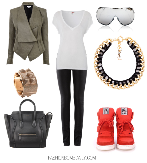 black-leggings-white-tee-necklace-sun-orange-shoe-sneakers-bracelet-black-bag-green-olive-jacket-moto-fall-winter-weekend.jpg