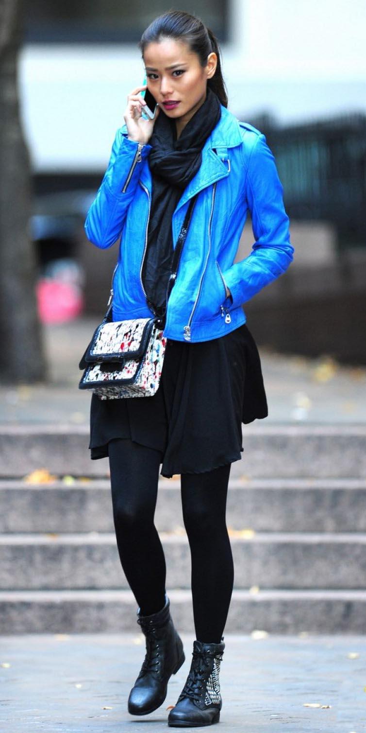 black-dress-tshirt-black-scarf-white-bag-black-tights-black-shoe-booties-pony-jamiechung-blue-med-jacket-moto-fall-winter-brun-lunch.jpg