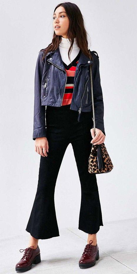 black-culottes-pants-tan-bag-leopard-print-white-tee-turtleneck-layer-red-top-stripe-burgundy-shoe-brogues-platform-blue-navy-jacket-moto-fall-winter-brun-weekend.jpg