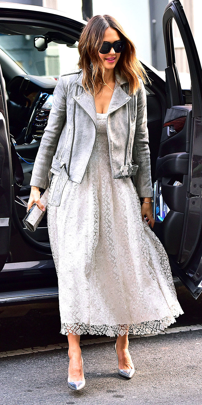 white-dress-midi-grayl-jacket-moto-hairr-gray-shoe-pumps-jessicaalba-fall-winter-dinner.jpg
