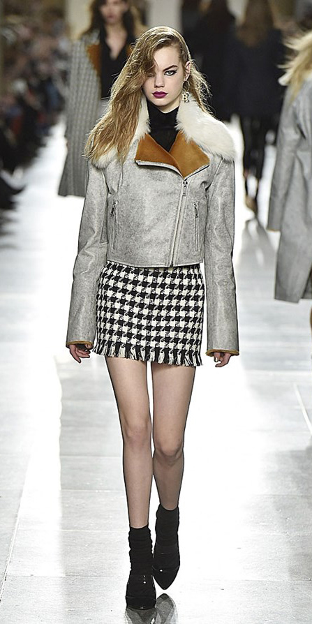 white-mini-skirt-black-sweater-turtleneck-grayl-jacket-moto-houndstooth-fall-shearling-socks-black-shoe-sandalh-blonde-lunch.jpg