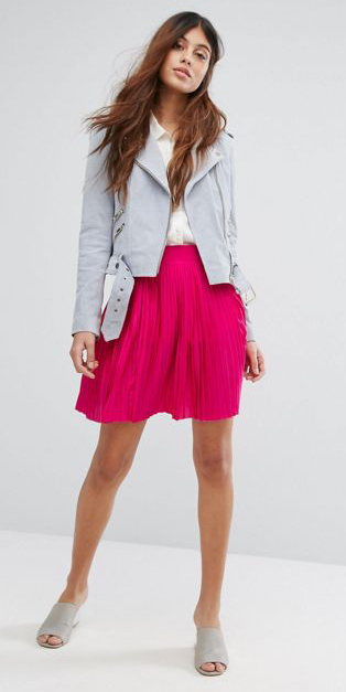 pink-magenta-mini-skirt-white-collared-shirt-grayl-jacket-moto-brun-gray-shoe-sandalh-mules-spring-summer-weekend.jpg
