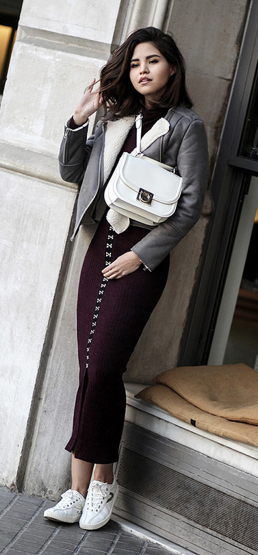purple-royal-dress-midi-bodycon-white-bag-white-shoe-sneakers-shearling-grayl-jacket-moto-fall-winter-brun-lunch.jpg
