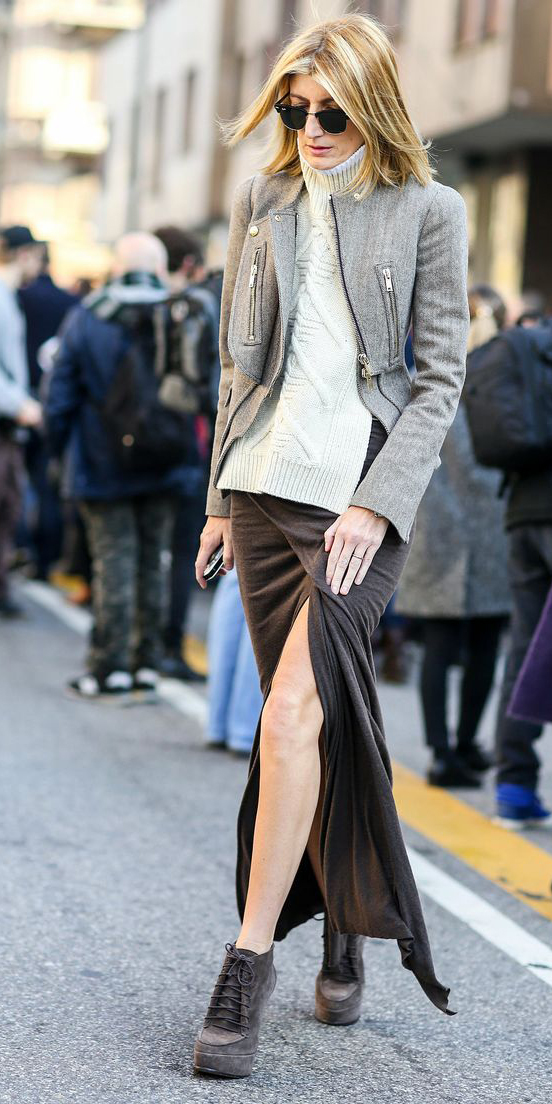 white-sweater-turtleneck-blonde-sun-tonal-gray-shoe-booties-grayl-jacket-moto-grayd-maxi-skirt-fall-winter-lunch.jpg