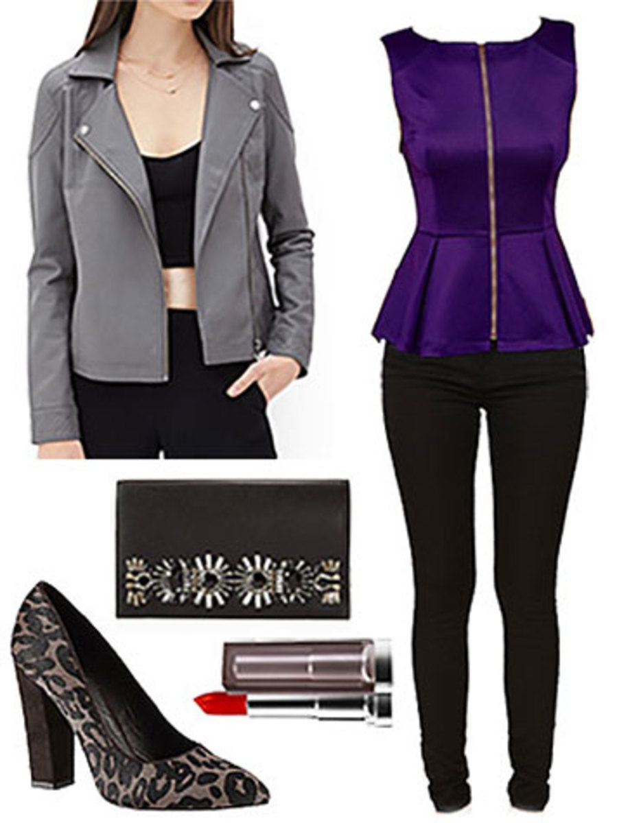 black-skinny-jeans-purple-royal-top-grayl-jacket-moto-black-shoe-pumps-black-bag-clutch-peplum-outfit-fall-winter-dinner.jpg