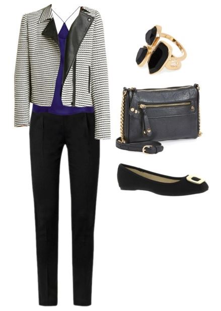black-slim-pants-purple-royal-cami-black-bag-ring-black-shoe-flats-grayl-jacket-moto-fall-winter-lunch.jpg
