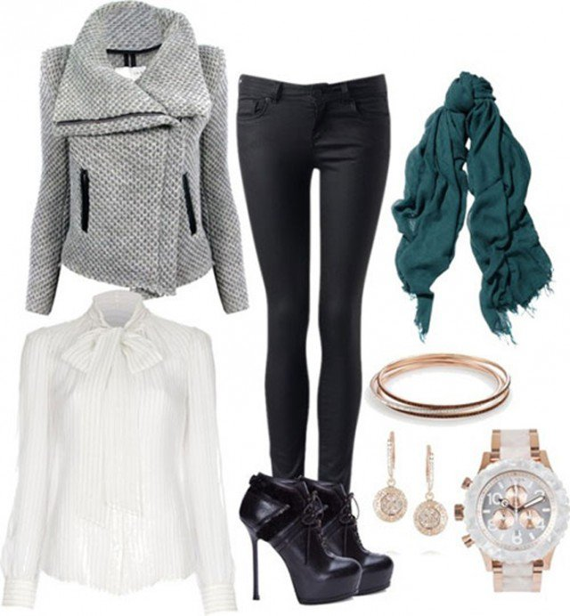 black-skinny-jeans-white-top-blouse-bow-grayl-jacket-moto-howtowear-fashion-style-outfit-fall-winter-basic-green-dark-scarf-black-shoe-booties-watch-earrings-lunch.jpg