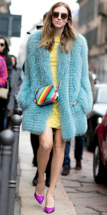 yellow-dress-mini-shift-lace-blue-light-jacket-coat-fur-yellow-bag-rainbow-blonde-sun-pink-shoe-pumps-fall-winter-dinner.jpg