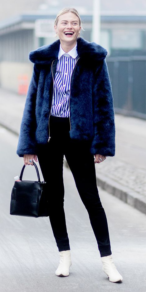 black-skinny-jeans-blue-navy-collared-shirt-stripe-blue-navy-jacket-coat-fur-blonde-bun-black-bag-white-shoe-booties-fall-winter-lunch.jpg