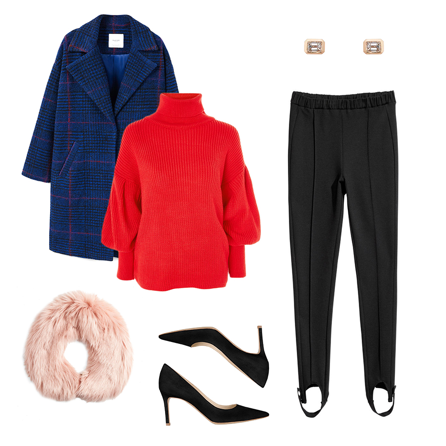 black-leggings-stirup-red-sweater-turtleneck-blue-navy-jacket-coat-pink-light-scarf-fur-black-shoe-pumps-studs-holiday-outfit-fall-winter-dinner.jpg