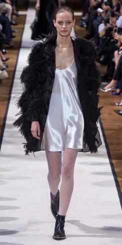white-dress-slip-white-tights-fishnet-black-shoe-booties-bun-black-jacket-coat-fur-fuzz-fall-winter-blonde-dinner.jpg