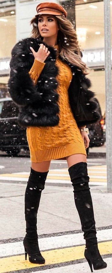 how-to-style-yellow-dress-sweater-black-jacket-coat-fur-hairr-hat-newsboy-cap-black-shoe-boots-otk-fall-winter-fashion-lunch.jpg