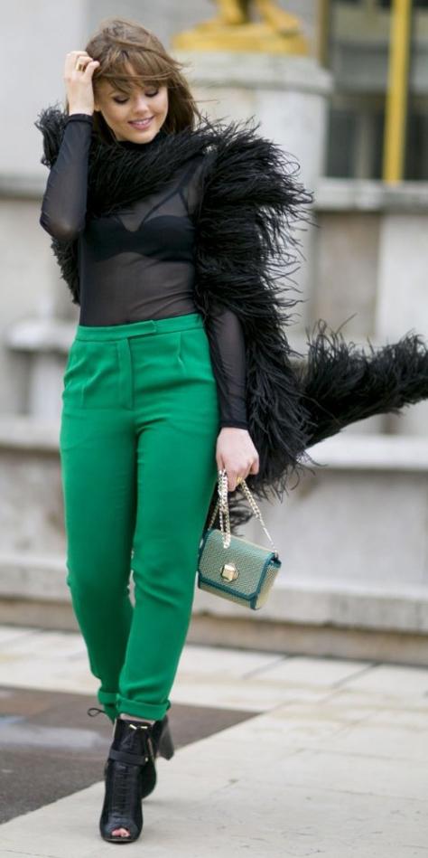 green-emerald-joggers-pants-black-top-sheer-black-bralette-hairr-black-shoe-booties-black-jacket-coat-fur-green-bag-fall-winter-dinner.jpg
