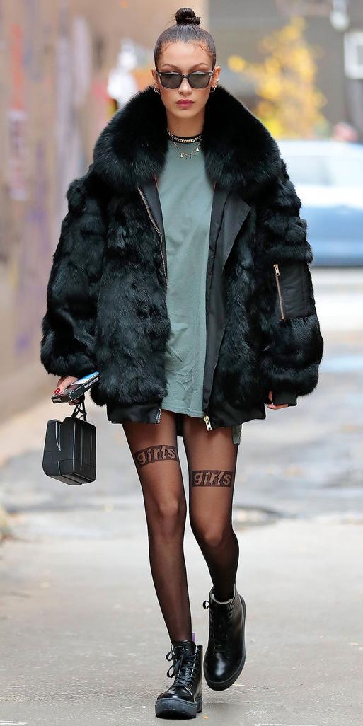 green-olive-dress-tshirt-bun-sun-black-tights-black-shoe-booties-black-bag-bellahadid-black-jacket-coat-fur-fuzz-fall-winter-brun-weekend.jpg