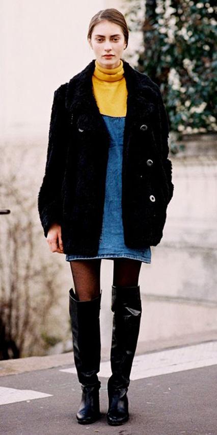 blue-med-dress-jumper-denim-yellow-sweater-turtleneck-black-tights-black-shoe-boots-fur-fuzz-black-jacket-coat-fall-winter-hairr-lunch.jpg