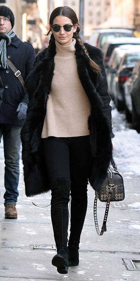 black-skinny-jeans-black-shoe-boots-otk-braid-tan-sweater-turtleneck-sun-black-bag-lilyaldridge-black-jacket-coat-fur-fuzz-fall-winter-brun-lunch.jpg