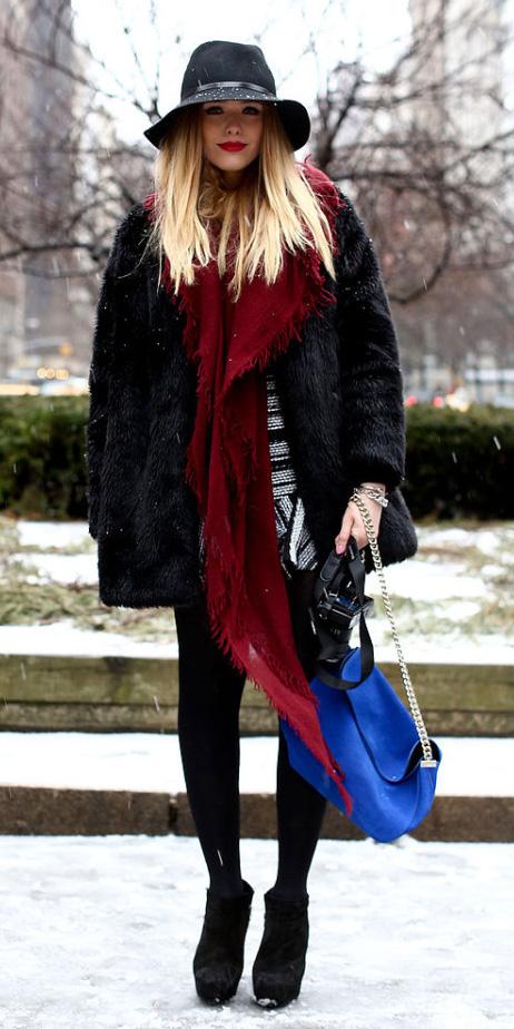 white-dress-mini-red-scarf-blue-bag-hat-black-tights-black-shoe-booties-black-jacket-coat-fur-fuzz-fall-winter-blonde-lunch.jpg