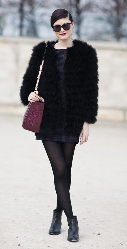 black-dress-black-jacket-coat-fur-black-tights-black-shoe-booties-burgundy-bag-howtowear-fashion-style-outfit-fall-winter-plaid-fuzz-mini-model-street-sun-bun-brunette-dinner.jpg