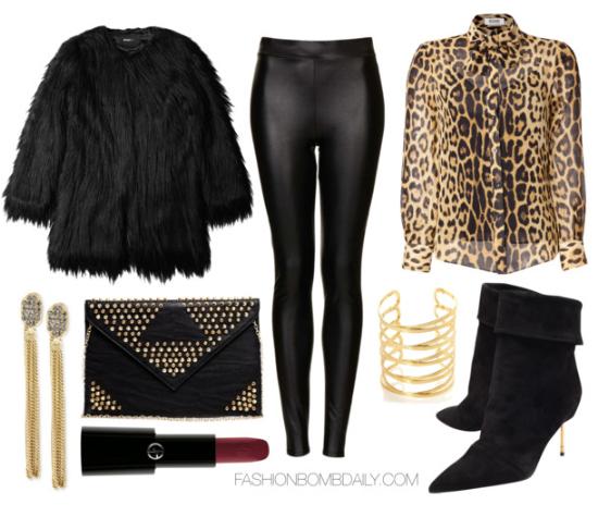 black-leggings-o-tan-top-blouse-black-jacket-coat-fur-fuzz-howtowear-fashion-style-outfit-fall-winter-leopard-concert-black-bag-clutch-bracelet-earrings-black-shoe-booties-leather-dinner.jpg