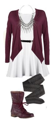 white-dress-mini-belt-bib-necklace-burgundy-shoe-booties-gray-tights-burgundy-cardiganl-fall-winter-lunch.jpg