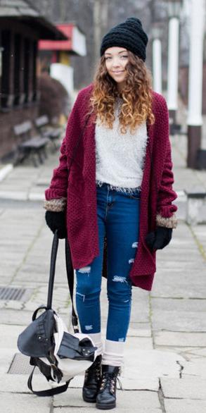 blue-med-skinny-jeans-white-sweater-beanie-gloves-socks-black-shoe-booties-layer-burgundy-cardiganl-fall-winter-hairr-weekend.jpg