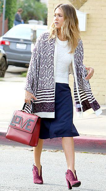 blue-navy-midi-skirt-white-sweater-burgundy-cardiganl-cape-red-bag-burgundy-shoe-booties-fall-winter-hairr-work.jpg