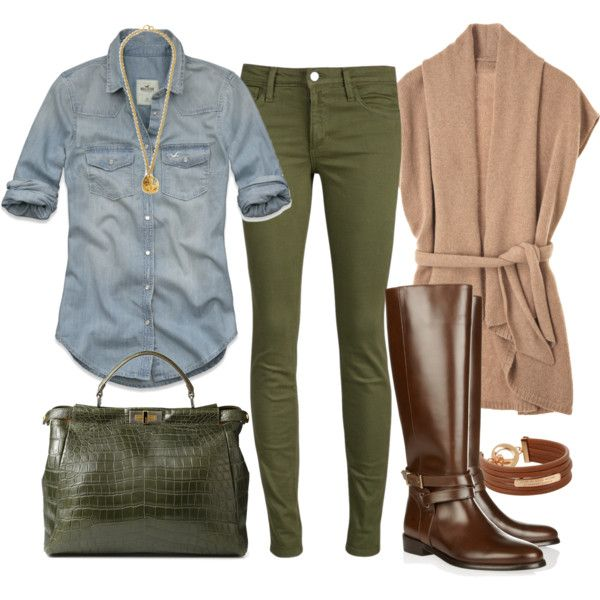 green-olive-skinny-jeans-tan-cardiganl-brown-shoe-boots-necklace-pend-blue-light-collared-shirt-green-bag-fall-winter-lunch.jpg