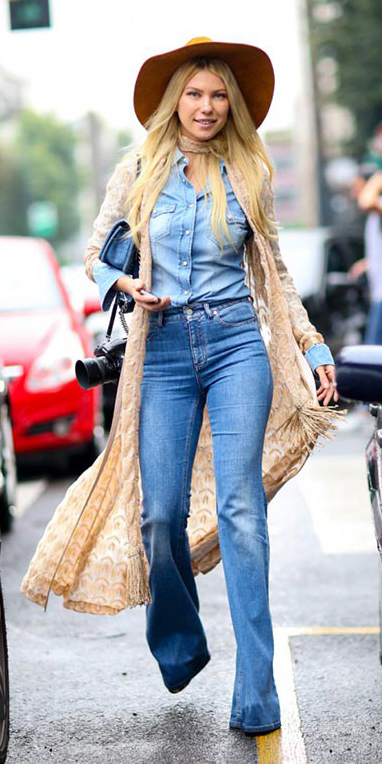 blue-med-flare-jeans-blue-light-collared-shirt-tan-cardiganl-chambray-blue-wear-fashion-style-spring-summer-duster-hat-blonde-lunch.jpg