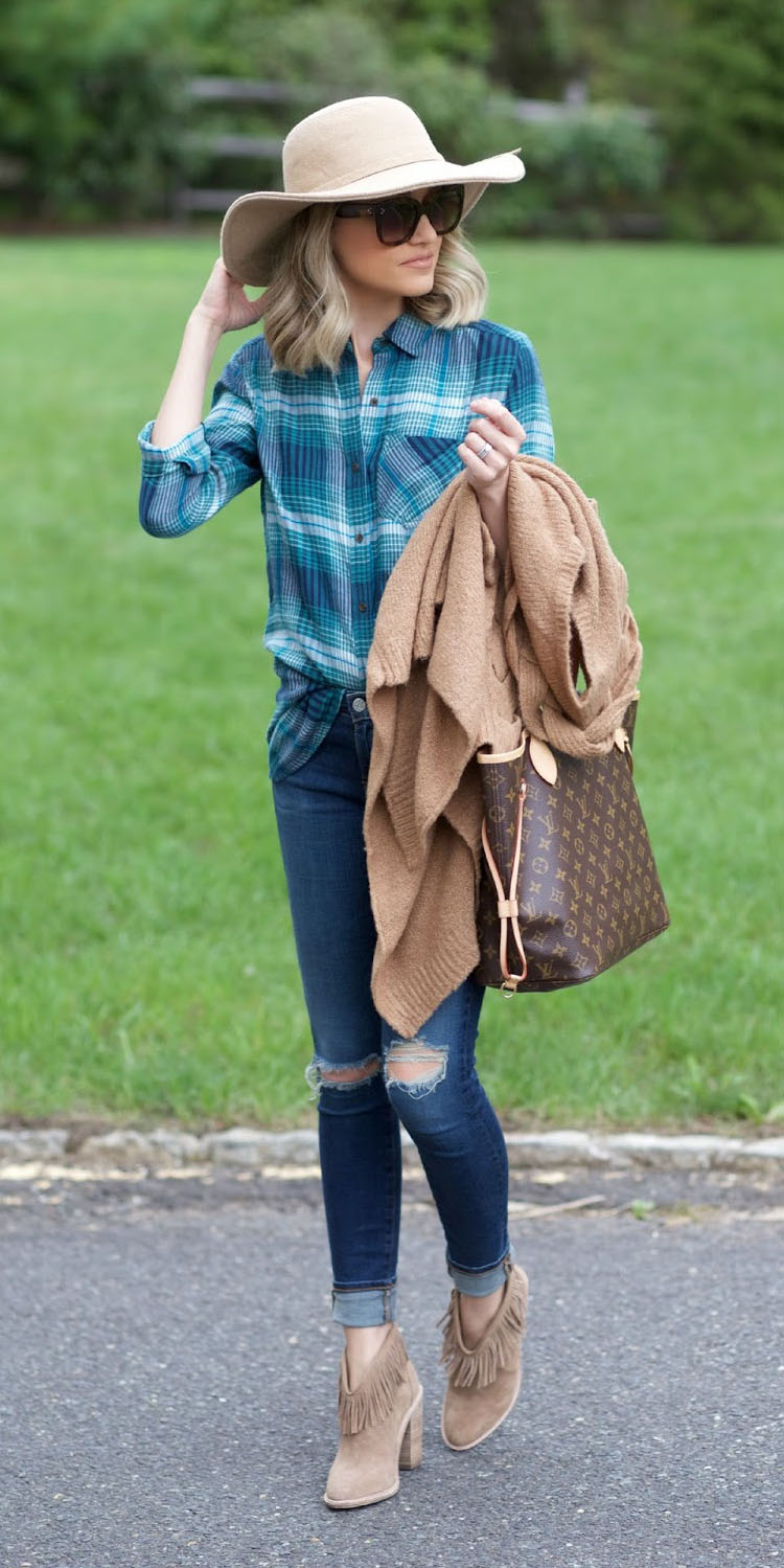 blue-med-skinny-jeans-tan-cardiganl-hat-lob-tan-shoe-booties-brown-bag-tote-blue-med-plaid-shirt-fall-winter-blonde-lunch.jpg