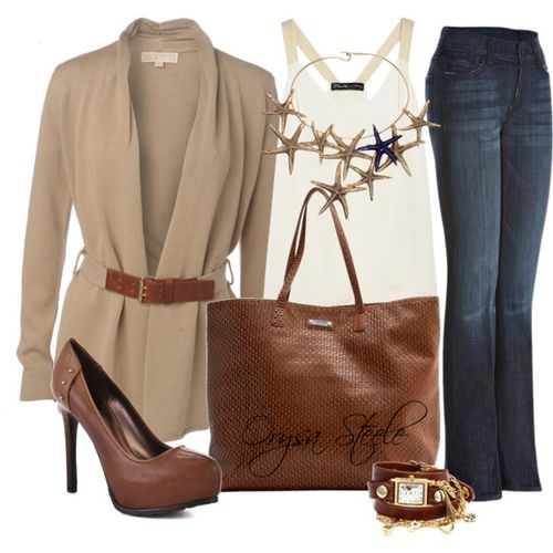 blue-navy-flare-jeans-white-cami-tan-cardiganl-belt-brown-shoe-pumps-cognac-bag-tote-howtowear-fashion-style-outfit-fall-winter-necklace-bib-watch-work.jpg