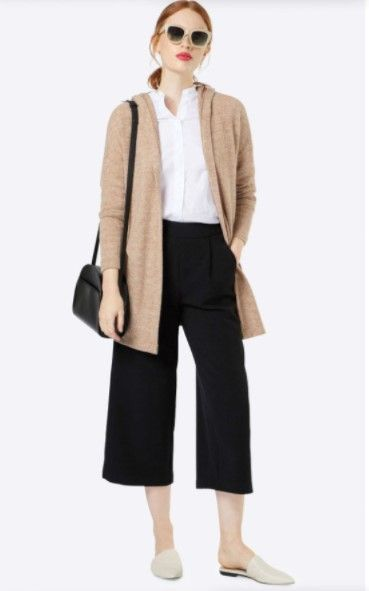 white-collared-shirt-black-culottes-pants-tan-cardiganl-white-shoe-flats-hairr-sun-black-bag-pony-fall-winter-weekend.jpg