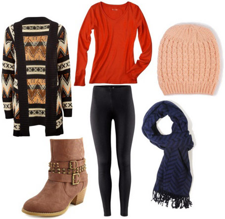 black-leggings-red-tee-howtowear-fashion-style-outfit-fall-winter-print-tan-cardiganl-blue-navy-scarf-beanie-tan-shoe-booties-beanie-weekend.jpg