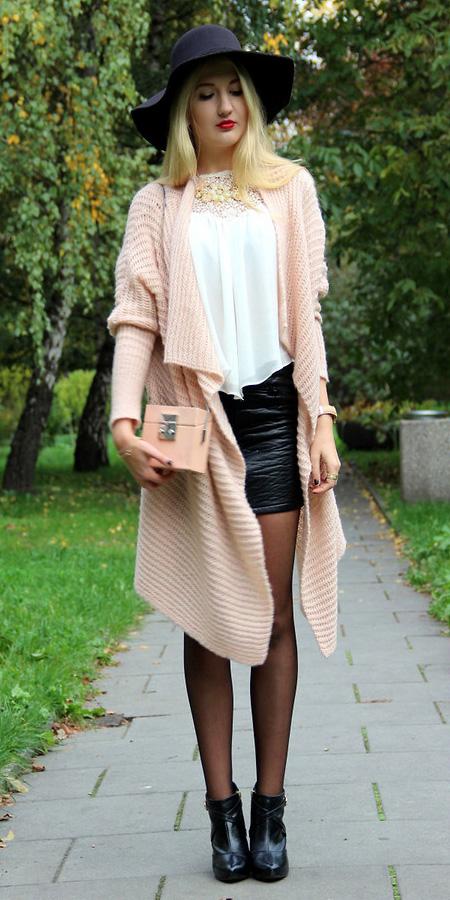 black-mini-skirt-leather-white-top-hat-peach-bag-black-tights-black-shoe-booties-peach-cardiganl-fall-winter-blonde-lunch.jpg