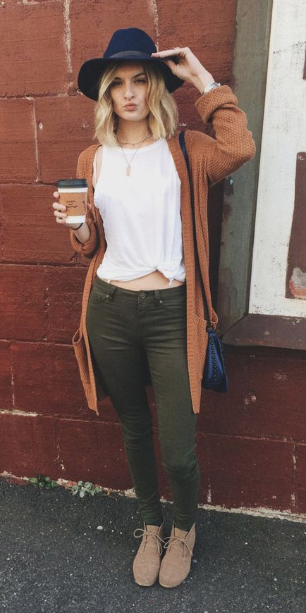 green-olive-leggings-white-tee-camel-cardiganl-hat-black-bag-tan-shoe-booties-fall-winter-blonde-weekend.jpg